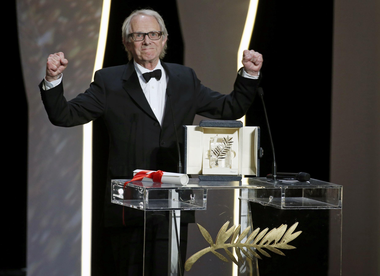 """A Palma de Ouro atribuída ao realizador britânico Ken Loach pelo filme """"I, Daniel Blake""""."""
