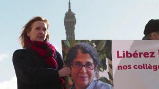 تجمع همکاران فریبا عادلخواه در حمایت از او در پاریس.