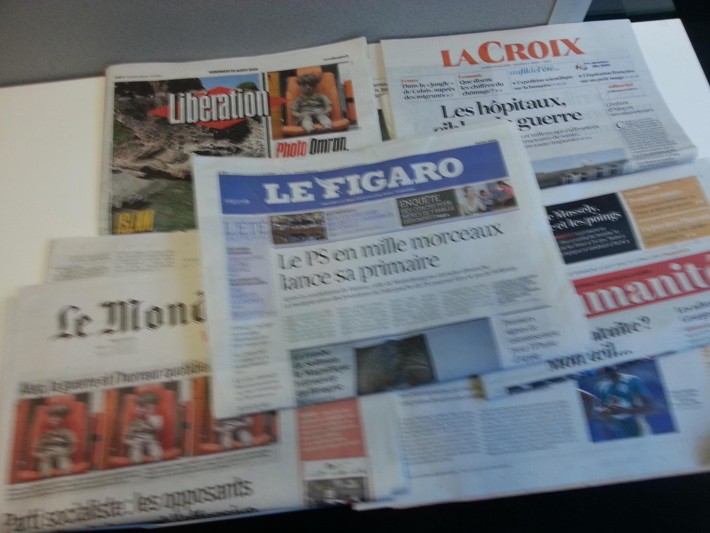 Jornais nacionais franceses de 19/08/16