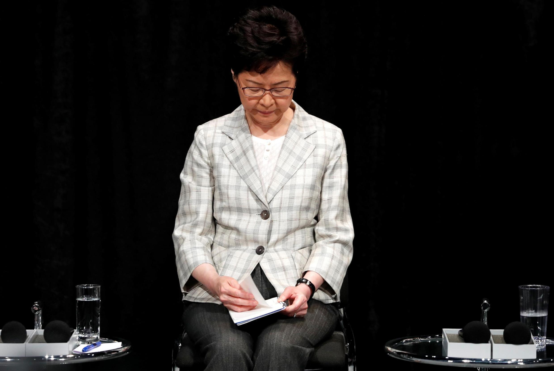 A Chefe do Executivo de Hong Kong, Carrie Lam, participa da primeira sessão de diálogo comunitário em Hong Kong, China, em 26 de setembro de 2019.