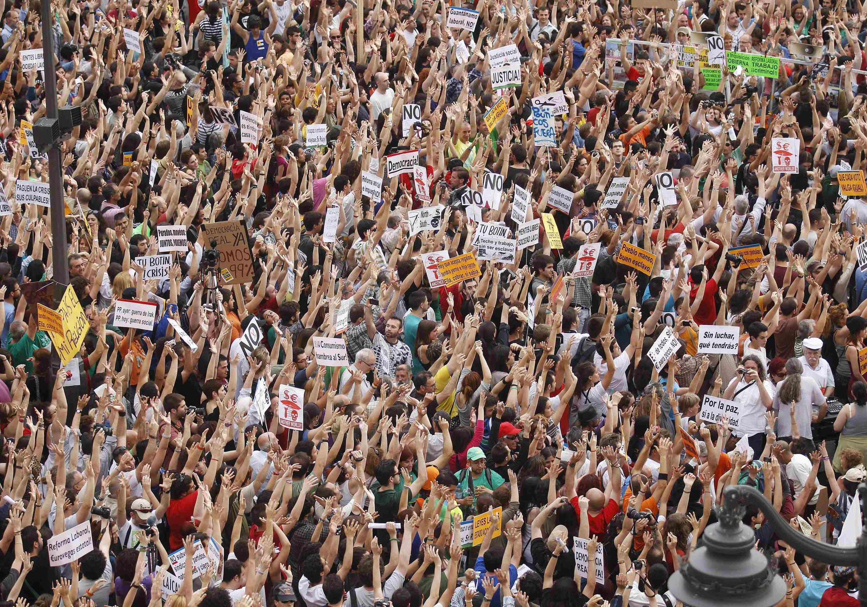 """""""Indignados"""" madrileños en La Puerta del Sol, este 12 de mayo de 2012."""