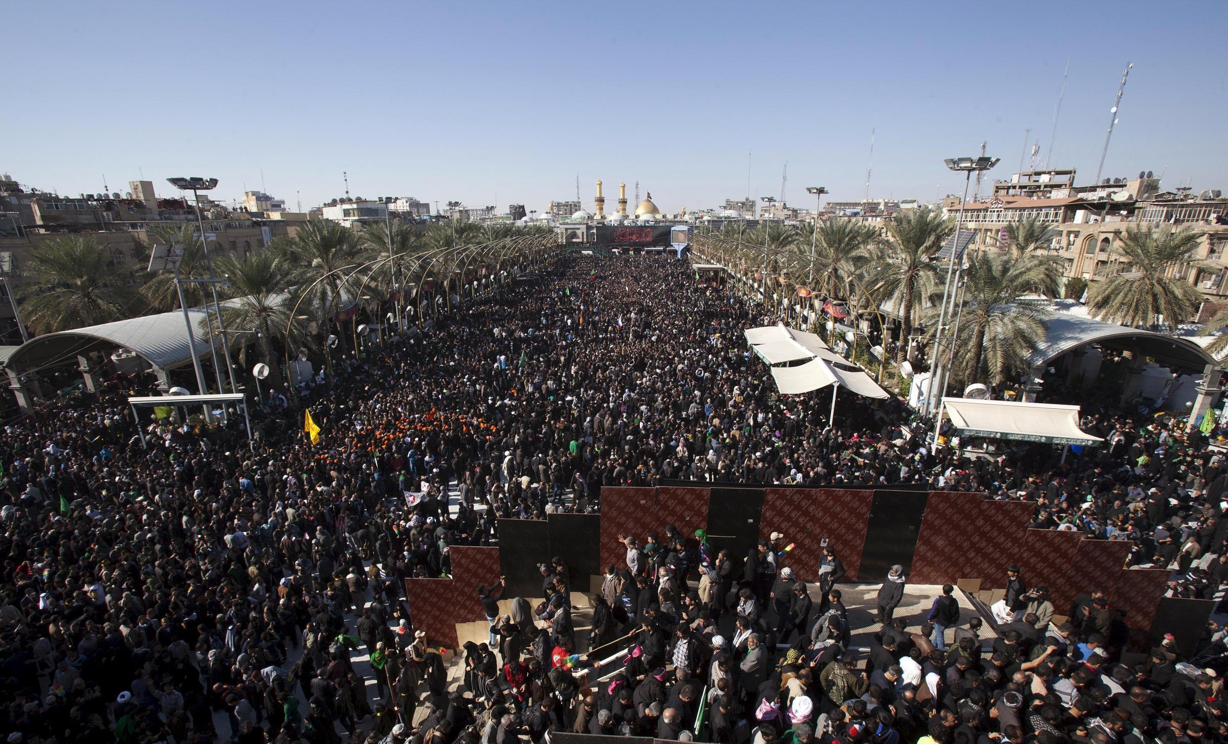 Shi'ite Muslim pilgrims in Iraq gather for a religious ceremony to observe Arbaeen, which marks the end of a 40-day mourning period following Ashura, in Kerbala, south of Baghdad.
