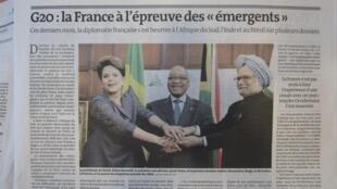 Dilma Rousseff (e), o presidente sul-africano, Jacob Zuma (c), e o premiê indiano, Manmohan Singh (d) durante um encontro em Pretória, em outubro.