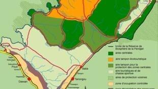 Carte des zones de protection de la réserve de la Pendjari.