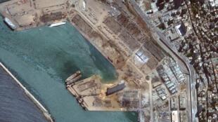 Image satellite du port de Beyrouth après lad ouble explosion survenue le 4 oût.