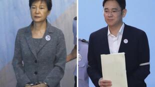 Cựu tổng thống Park Geun Hye (T) và người thừa kế tập đoàn Samsung Lee Jae Young sẽ bị xét xử lại.