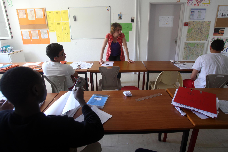 La salle de classe, où les mineurs étrangers isolés hébergés à Créteil suivent des cours de français et de remise à niveau avant d'entrer dans les CFA.