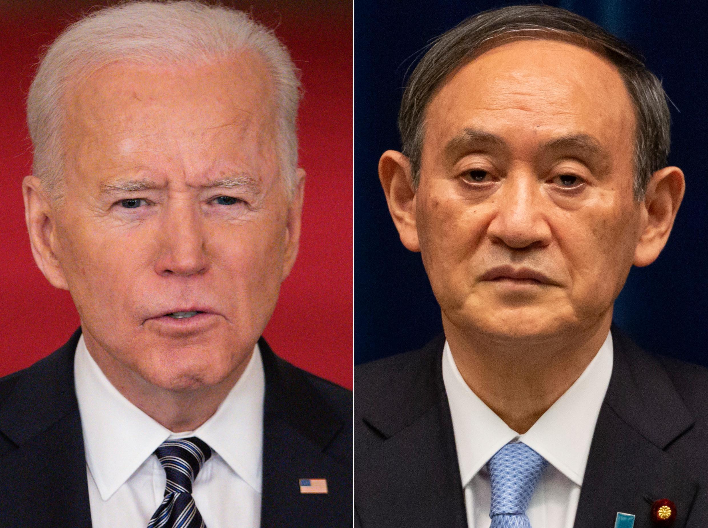 El presidente estadounidense, Joe Biden (I), recibirá al primer ministro japonés, Yoshihide Suga (D), en la primera cumbre en persona de su mandato