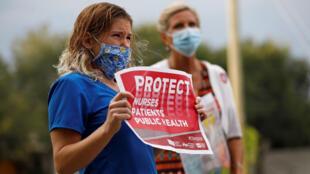 Des infirmières manifestent, le 15 juillet 2020, pour dénoncer les pratiques à l'hôpital général de Saint-Pétersbourg, en Floride, où le Covid-19 est traité. (Image d'illustration)