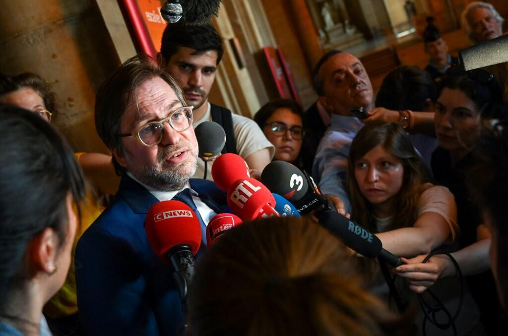 Patrice Spinosi, French lawyer of Rachel Lambert, the wife of Vincent Lambert, a quadriplegic man who has been in a vegetative state for the last decade, speaks to the press after an appeal hearing at the Court of Cassation in Paris, on June 28, 2019.