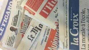 Capas dos jornais diários franceses de 31/08/15