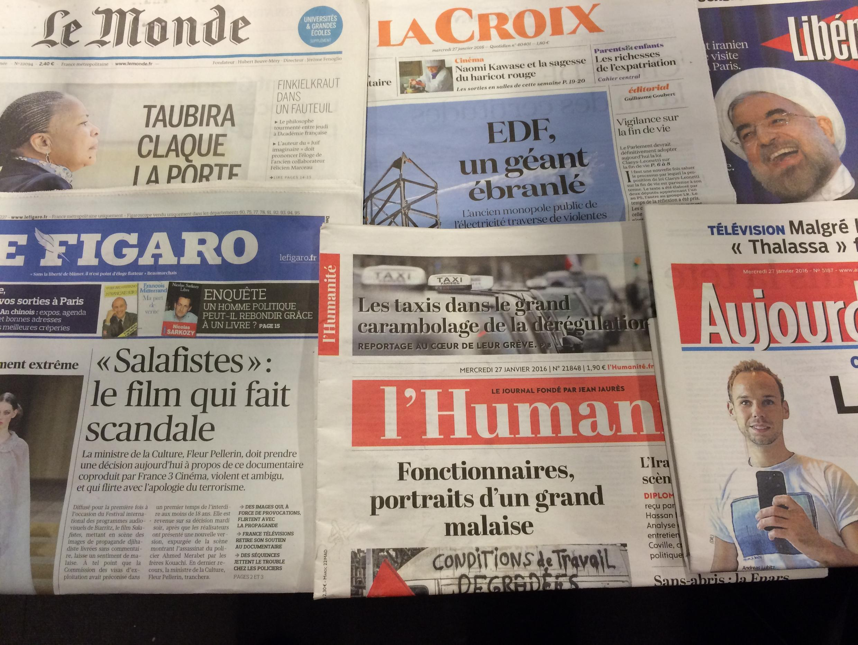 Primeiras páginas dos diários franceses 27/01/2015