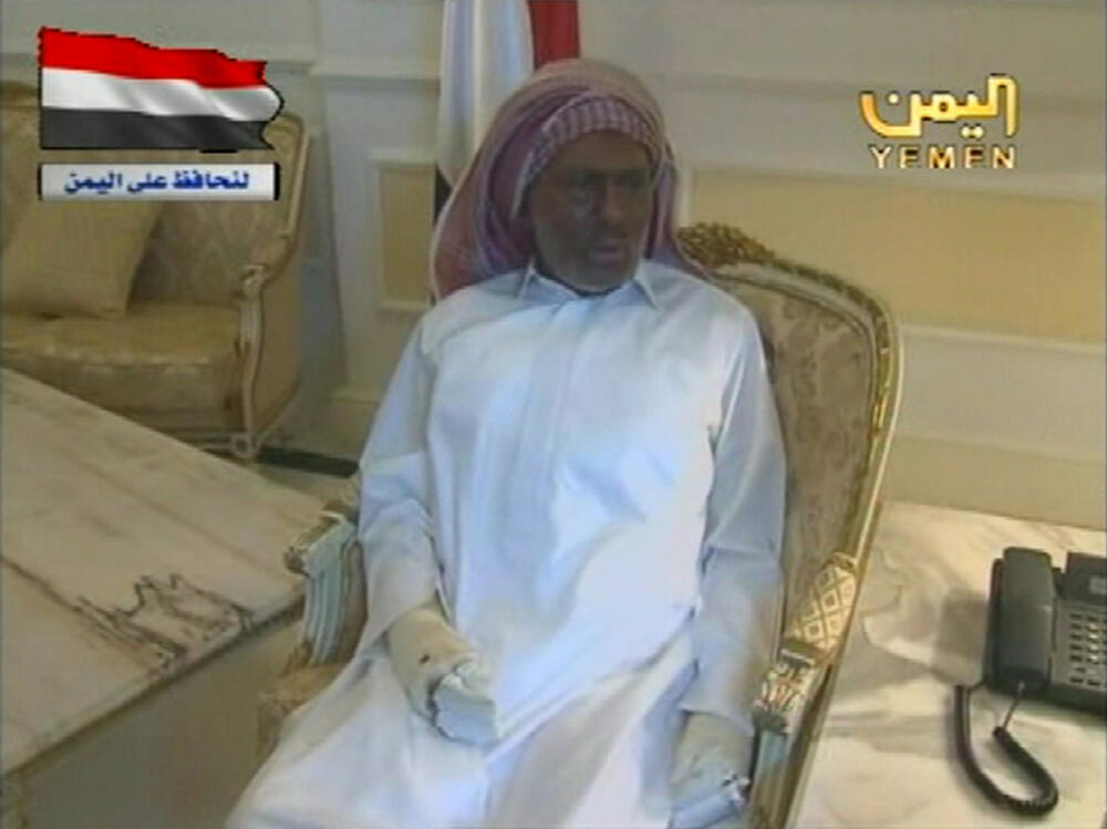 Ali Abdallah Saleh speaks from the Riyadh hospital