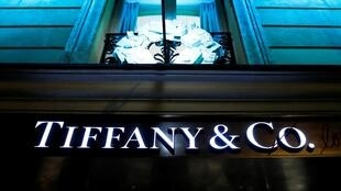 The Tiffany & Co. logo outside a store in Paris.