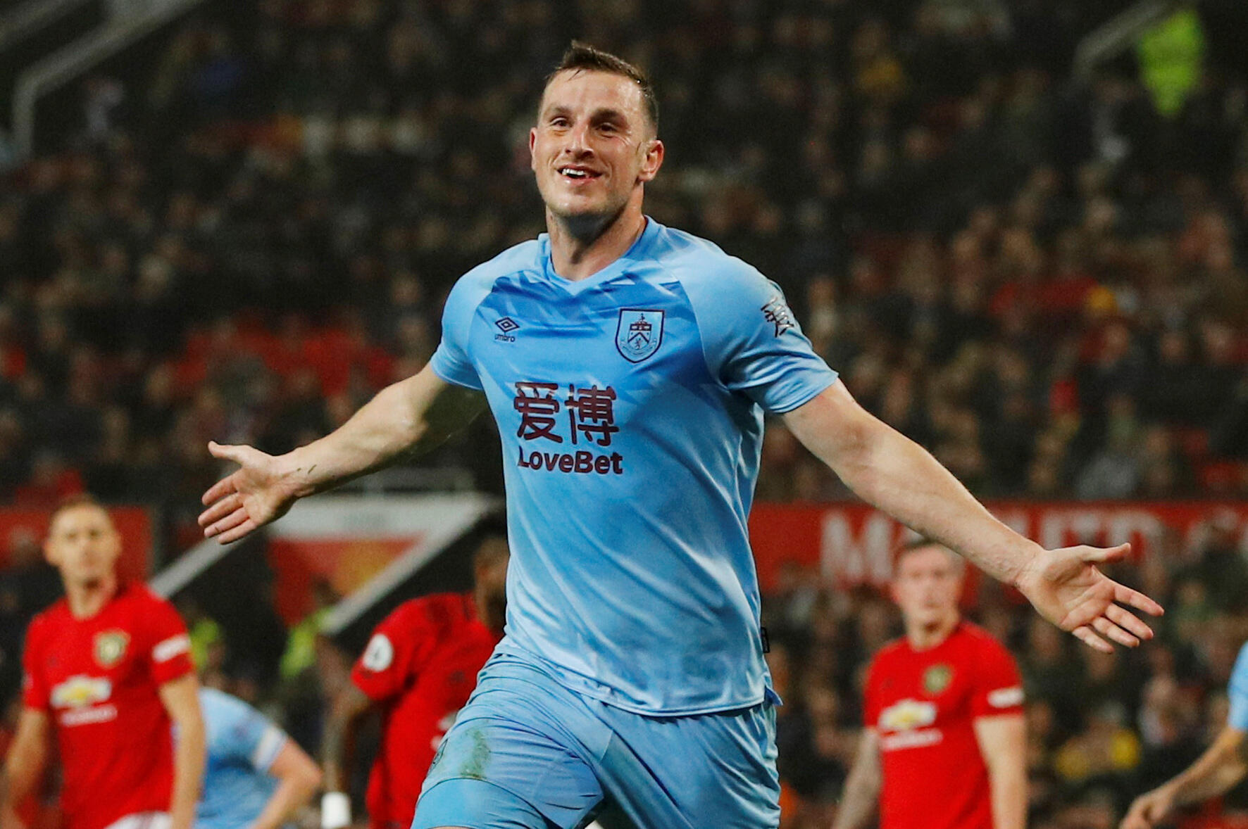 Chris Wood scored the first goal in Burnley's 2-0 win at Manchester United.