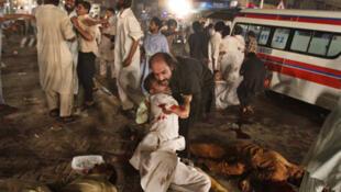 The scene of the attacks on a Shia procession in Lahore.