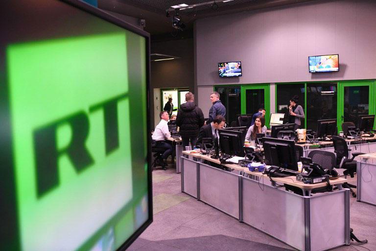Sede do canal de televisão Russia Today em Moscou, em 14 de novembro de 2017.