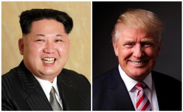 Lãnh đạo Bắc Triều Tiên Kim Jong Un (trái), tổng thống tân cử Mỹ Donald Trump