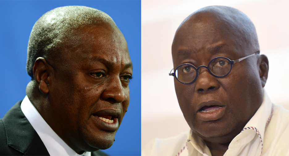 John Dramani Mahama (L) and Nana Akufo-Addo (R), the 2 main candidates for Ghana's presidential election