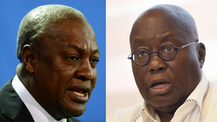 John Dramani Mahama (L) and Nana Akufo-Addo (R), the 2 main candidates for Ghana's presidential election