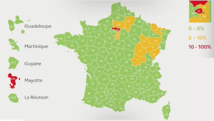 Active spread of the virus as presented by the French Ministery of Health on May 7, 2020.