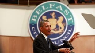 O presidente dos Estados Unidos, Barack Obama, durante discurso nesta segunda-feira na Irlanda do Norte no primeiro dia de reuniões do G8.