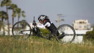 Pascale Bercovitch s'entraînant à Tel Aviv en mai 2012, avant les Jeux paralympiques.