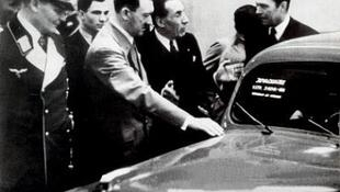 Louis Renault is showing a prototype of a tank to Hitler and Göring in 1939