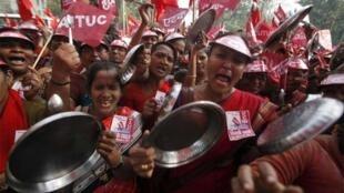 Demonstrators in New Delhi Wednesday
