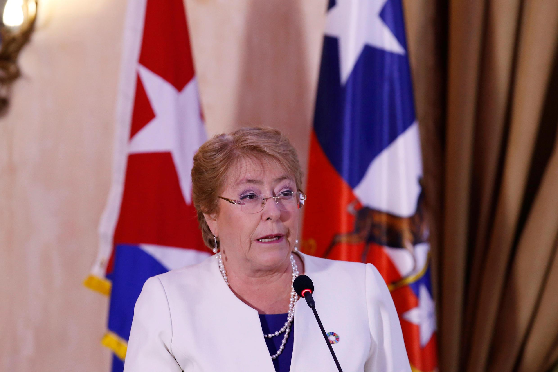 L'ex-présidente du Chili, Michelle Bachelet, le 8 janvier 2018, à La Havane, à Cuba.