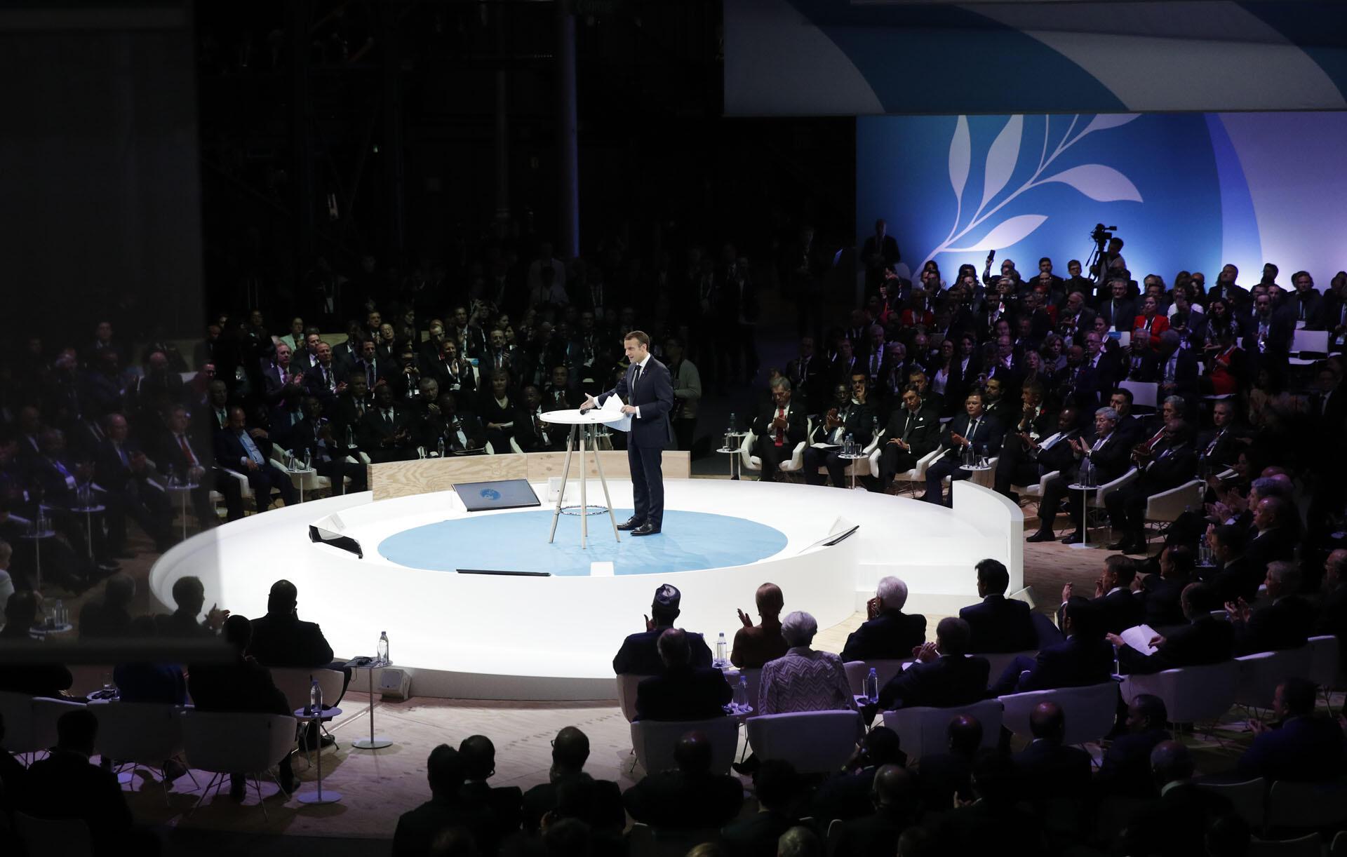 Le président français, Emmanuel Macron, au Forum pour la paix à Paris, le 11 novembre 2018. Le Forum pour la paix à Paris est un nouvel événement annuel basé sur la coopération internationale et visant à relever les défis mondiaux paix durable.