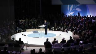Как и год назад (на фото) в открытии Парижского форума мира примет участие президент Франции Эмманюэль Макрон