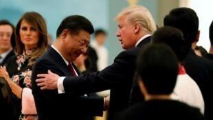 中國國家主席習近平與美國總統特朗普資料圖片