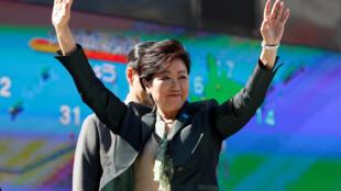 Lãnh đạo đảng Hy Vọng, thống đốc vùng Tokyo, Yuriko Koike vận động tranh cử ở Tokyo ngày 10/10/2017.