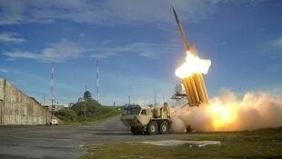 A Terminal High Altitude Area Defense (THAAD) interceptor is launched during a successful intercept test, in this undated handout photo provided by the U.S. Department of Defense