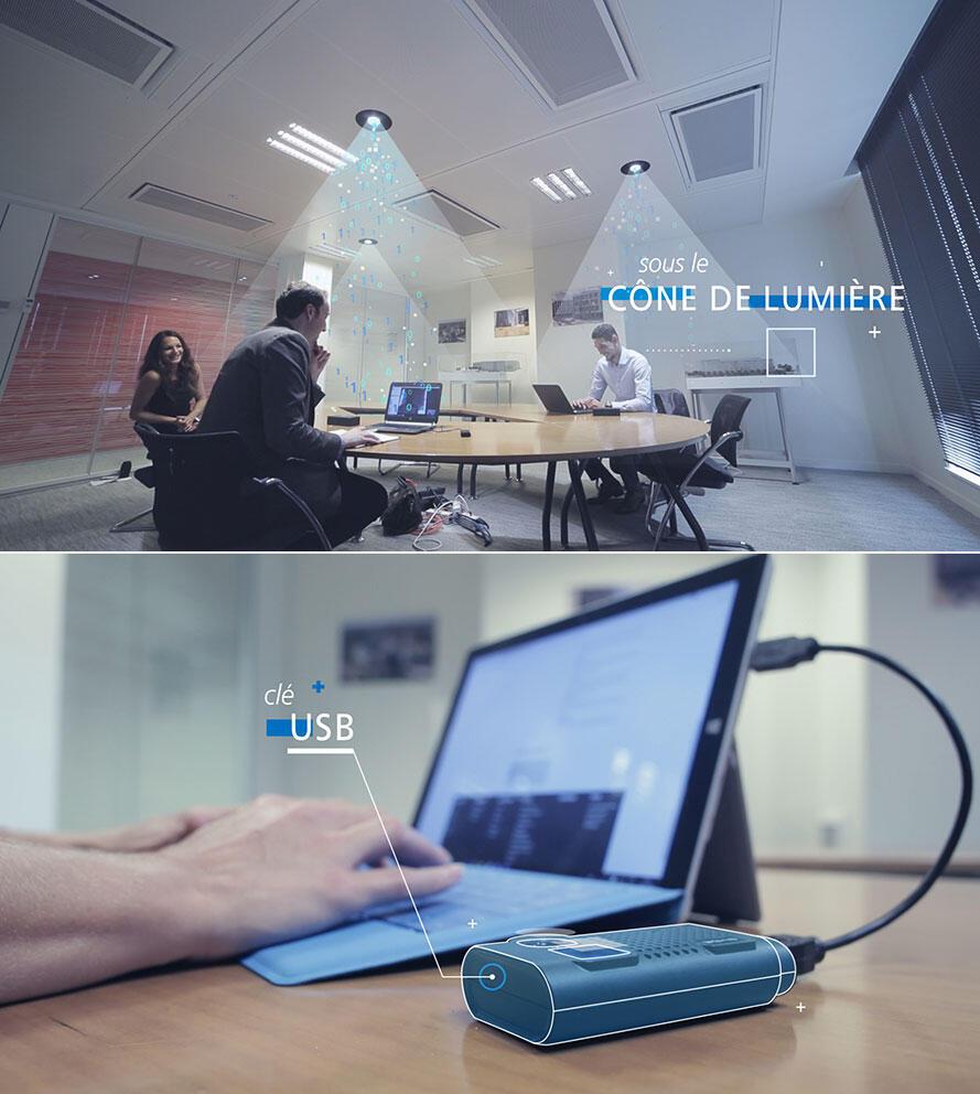 On place son ordinateur ou sa tablette sous un halo de lumière produite par une ampoule de type LED connectée au réseau par un câble classique de type RJ45. L'information est transmise et décryptée par une clé spéciale Li-Fi branchée sur l'ordinateur .