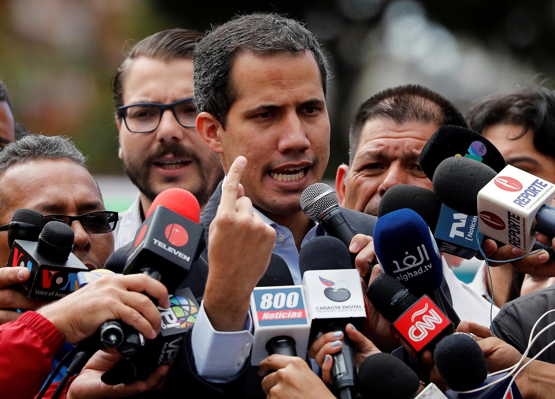 Juan Guaido, lors d'une allocution aux médias, donnée le 20 février 2019 à Caracas. (Photo d'illustration)