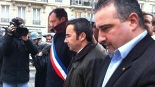 Da esquerda para a direita: Hermano Sanches Ruivo, vereador de Paris, Jorge Moreira da Silva, ministro do Ambiente, Paulo Marques, vereador em Aulnay-sous-Bois.