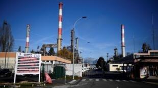 L'entrée de la raffinerie de Grandpuits, en Seine-et-Marne.