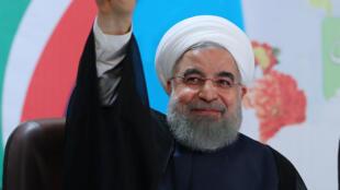 Le président iranien, Hassan Rohani (ici à Téhéran, le 14 avril 2017) a critiqué durant le 2e débat les Gardiens de la révolution, l'armée d'élite du régime islamique.