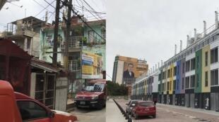 En la Villa 31, los nuevos edificios (der.), que forman parte de la inversión actual, muestran el contraste con las edificaciones anteriores (iz.).