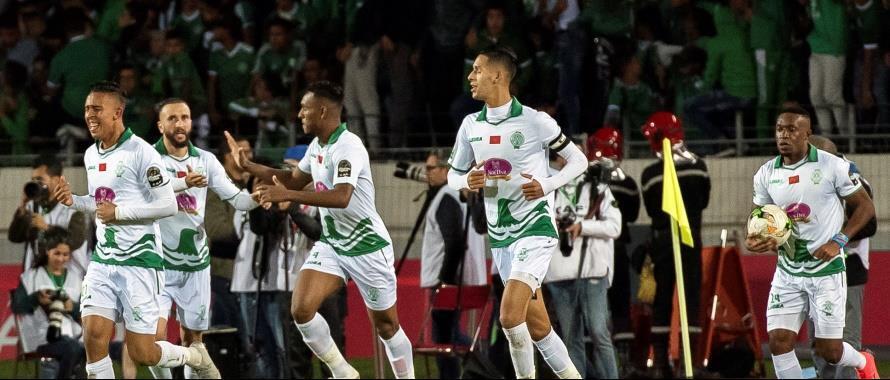 Wachezaji wa Raja Casablanca wakishangilia baada ya kupata ushindi dhidi ya AS Vita ya DRC