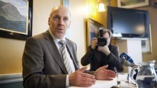 Steingrimur Sigfusson, ministre des Finances islandais, a donné une conférence de presse à Reykjavík, le 7 mars 2010.