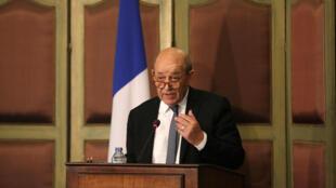 存檔圖片:法國外交部長勒德里昂 2018年4月29日