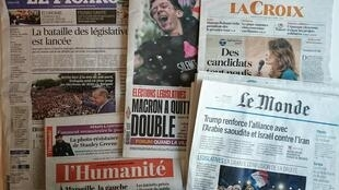 Primeiras páginas dos jornais franceses de 22 de maio de 2017