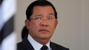 柬埔寨總理洪森,2017年3月19日(資料圖片)