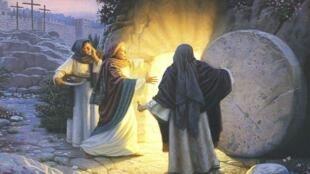 سه زن از پیروان عیسی برای تدهین جسد او رفتند و دیدند  سنگ بزرگ را از در گور او به کناری غلتانیدهاند.