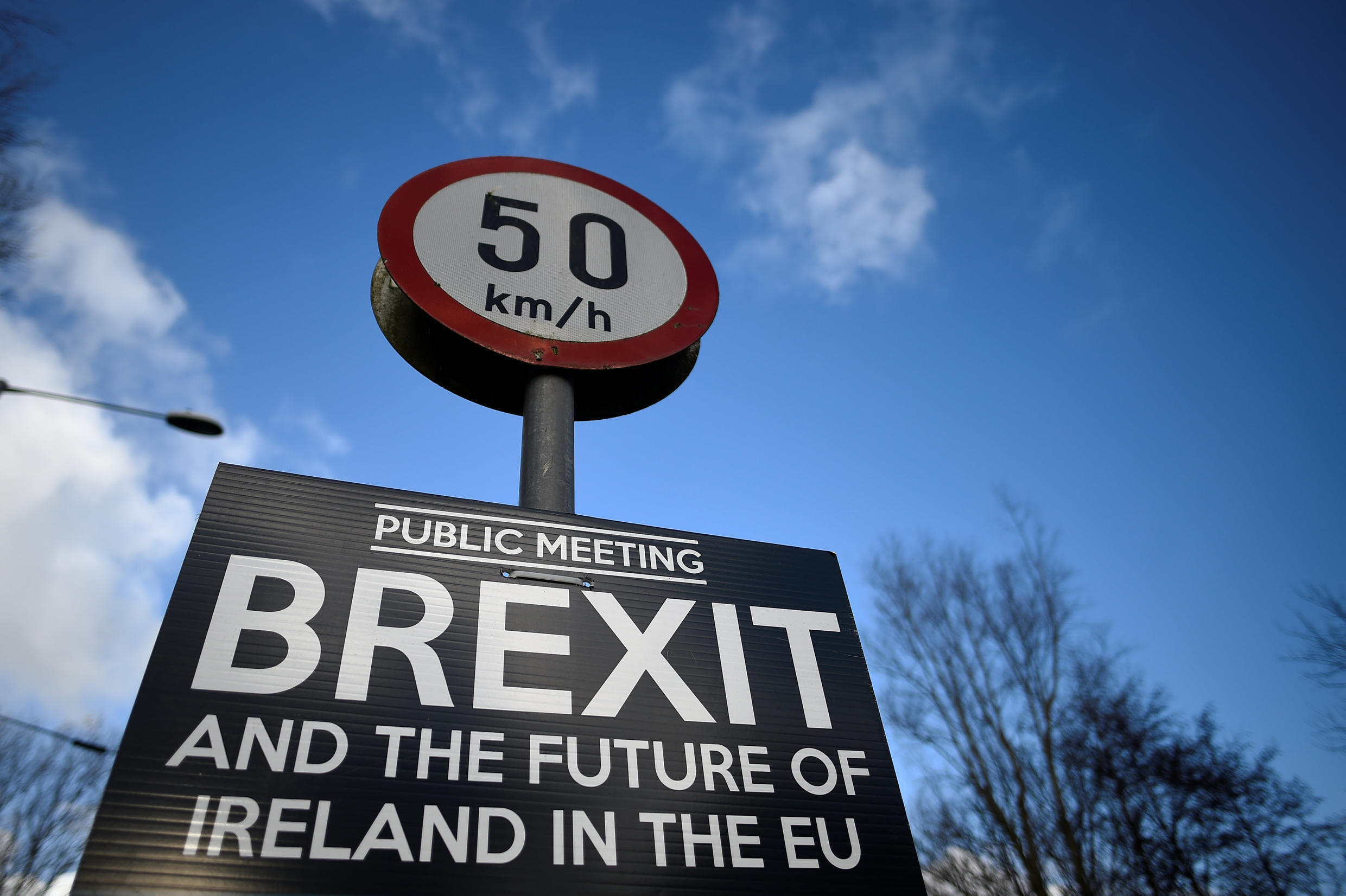 A Brexit sign is seen between Donegal in the Republic of Ireland and Londonderry in Northern Ireland at the border village of Muff, Ireland,.