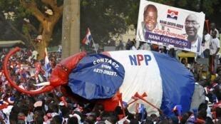 Des partisans du NPP au cours d'un meeting de Nana Akufo-Addo à Accra au Ghana.