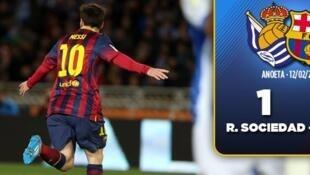 Dan wasan Barcelona Lionel Messi Wanda ya zira kwallo a ragar Real Sociedad da aka tashi ci 1-1 a gasar Copa del Ray.